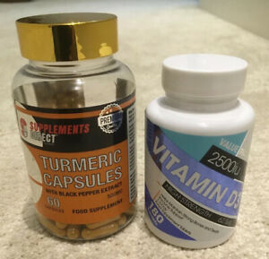 Vitamin D3 2500iu (180 caps) and  Turmeric with Black Pepper extract  (60 Caps)
