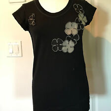 NWT D & G Dolce & Gabbana black cotton t-shirt top blouse silk floral 42 Medium