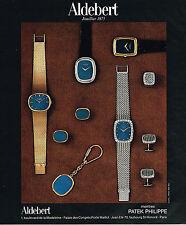 PUBLICITE ADVERTISING 035  1977  ALDEBERT joailllier montres PATEK PHILIPPE