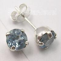 925 Sterling Silver Natural Cut Blue Topaz Stud Post Earrings 0.7 cm 1.7 Grams