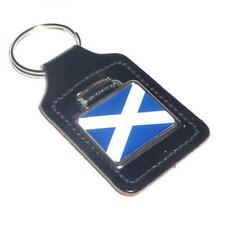Scotland Flag Bonded Leather KEY FOB CHAIN BAG CHARM Scottish BIRTHDAY PRESENT