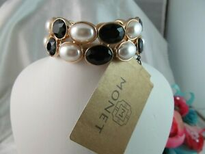 NWT MONET GOLD with PEARL & ONYX BLACK OVAL DESIGN STATEMENT BRACELET, Beautiful