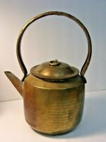 Vintage Brass Copper Tea / Coffee Pot Kettle Round with handle and lid