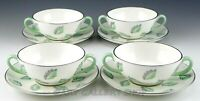 Wedgwood England S243 FALLING LEAVES CREAM SOUP BOWLS CUPS AND SAUCERS Set of 4