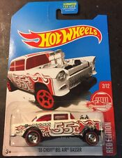 Hot Wheels 55 Chevy Bel Air Gasser CUSTOM with Redline Real Riders Red Edition