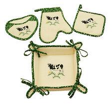 Embroidered Cow Bread Basket Set Ovenmitt Pot Mitt Pot Holder Cotton 4 Pc Set