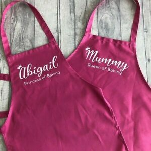MUMMY DAUGHTER PERSONALISED APRONS, Queen and Princess of Baking Apron Set Gift