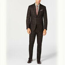 Size 38R 31W Tallia Men's Slim-Fit Stretch Dark BrownLight Blue Plaid Wool Suit