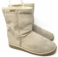 Emu Winter Boots Beige Suede Sheepskin Classic Short Booties W 11/ M 10 / EU 44