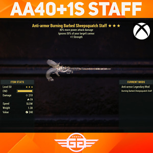 Anti-Armor Burning Barbed Sheepsquatch Staff - 40 +1S - Fallout76 [XBOX]