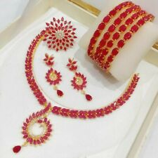 Indian Ethnic AD Combo Bangle Ring Necklace Set Red Ruby Stone Gold Tone Choker