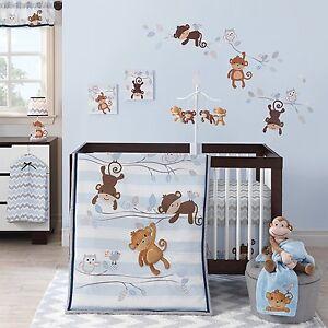 Bedtime Originals Mod Monkey Crib Bedding Set Baby Boy Nursery 3 Piece Quilt New