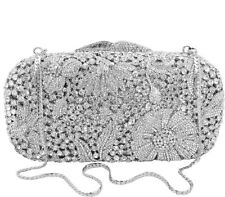 Anthony David Silver Metal Floral Design with Clear Crystal Clutch Evening Bag