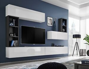 Boise I - black & white tv wall unit for tv / entertainment tv cabinets