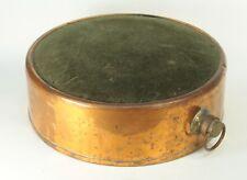 ! Antique Copper & Felt Bed Warmer Heater Heated Water Pillow Marked GEESA