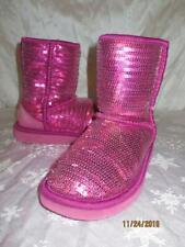 UGG Australia Youth Girls FUSCHIA Pink Classic SHORT SEQUIN Boots SZ 2 1004885K