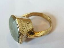 DETECTOR FIND & POLISHED POST MEDIEVAL BRONZE RING WITH INTAGLIO STONE