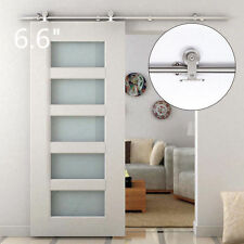 6.6FT Modern Sliding Door Hardware Kit Stainless Steel Wood Barn Door Track Set@