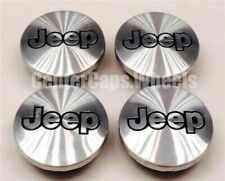 (SET OF 4) 1987-2010 Jeep Brushed Aluminum Black FOR JEEP Logo Center Caps TJ XJ