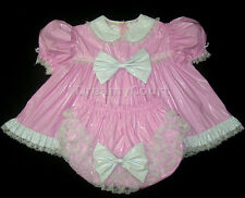 ADULT SISSY BABY PVC RUFFLES DRESS SET baby pink(MITTS, BONNET & BOOTIES)