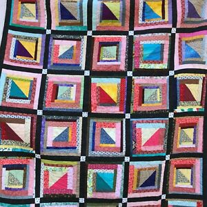 "Quilt Scrappy Square Hand Pieced New All Cotton 76"" x 89"""