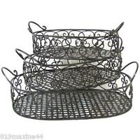 Metal Antique Style Oval Basket Tray Set with Handles,X 3, Free Shipping Here!