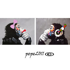 MASSIVE CANVAS Art Print DJ MONKEY gorilla ape GIRL chimp PAINTING  pepe