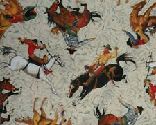 Bty Western Cowboys Cowgirls on Horses Toss 100% Cotton Quilting Fabric Rodeo