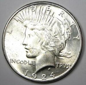 1924-S Peace Silver Dollar $1 - Choice AU / UNC MS - Nice Luster - Rare Date!