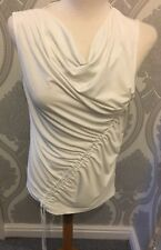 NEXT IVORY SLEEVELESS TOP SIZE 6 RUFFLED FRONT LACE TIE