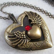 Angel Wing Heart Handmade Brass Photo Locket Pendant Necklace