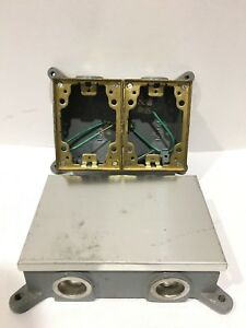 Hubbell B4214 Floor Box Cast Iron Shallow Two Gang LOT OF 2!!