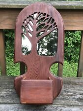 VINTAGE WOOD WALL HANGING SHELF WITH POCKET MIRRORED BACKGROUND, CARVED TREE