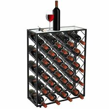 Freestanding Metal Wine Rack 32 Bottle Solid Shelves w/Glass Table Top Bar