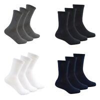 Boys Girls Kids Plain Socks 3 Pack Ankle School Cotton Rich Childrens Black Grey