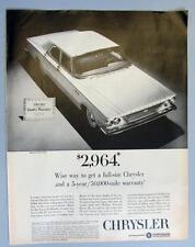 Original 1963 Chrysler 4 Door Newport Ad FULL SIZE CHRYSLER & 5 YEAR 50,000