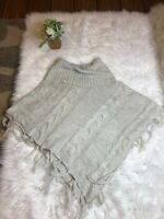 Dress Barn Womens Size One Size Light Gray Turtle Neck Chunky Knit Poncho