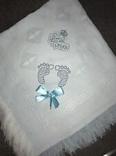 beautiful white/ Blue baby Boys shawl **NEW**  PERSONALISED Footprints