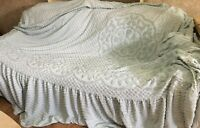 Chenille Queen Bedspread Blue Floral JC Penney Made in USA