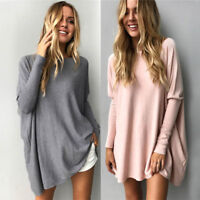 Plus Size Women Batwing Sleeve Sweater Casual Baggy Pullover Jumper Blous Gift
