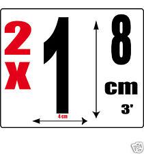 lot 2 Chiffres [1] Sticker autocollant noir hauteur 8cm Lettre en vinyle