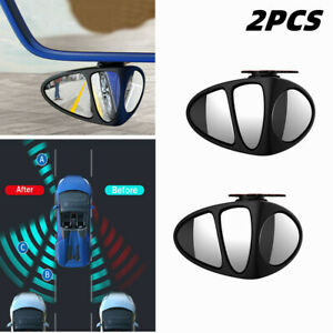 2X 360° Rotating Car Wide-angle Blind Spot Mirror Rearview Mirror Left + Right