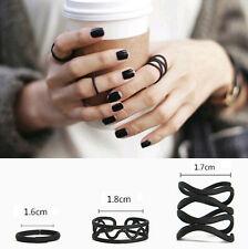 3pcs black penk stack Plain Cute Above Knuckle Ring Band Midi Rings G RAU