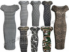 WOMENS  BODY-CON CAP SLEEVE POLKA DOT LEOPARD SKULL STRIPE STRETCH DRESS 8 -  22