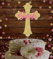CROSS CHRISTENING GIRLS CUSTOM NAME GLITTER CAKE TOPPER BAPTISM HOLLY COMMUNION