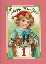 Lovely GIRL HOLDS BUNNIES On Beautiful TUCK Vintage 1912 NEW YEAR Postcard