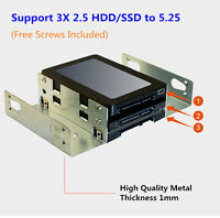 "Metal 5.25 Driver Bay to 3* 2.5"" SSD / Hard Drive HDD Tray Adapter Caddy Bracket"