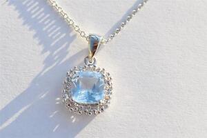 "New Sterling Silver Blue Topaz Diamond Accent Pendant Necklace 2.00 cttw 18"""