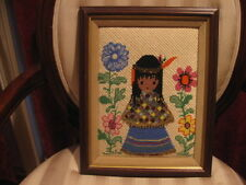 Vintage Completed & Framed Cross Stitch Needle Point & Hand Beaded Indian Girl