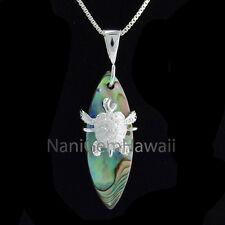 Sea Turtle on Abalone Surfboard Hawaiian 925 Sterling Silver Pendant